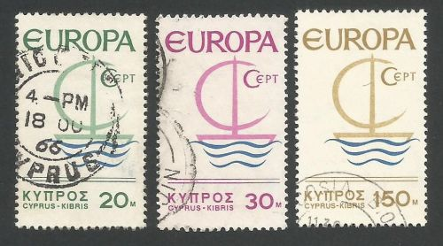 Cyprus Stamps SG 280-82 1966 Europa Ship - USED (L287)