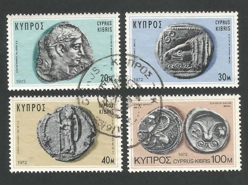 Cyprus Stamps SG 393-96 1972 Ancient Coins - USED (L289)