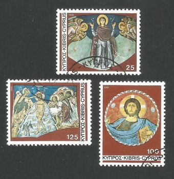Cyprus Stamps SG 581-83 1981 Christmas murals - USED (L300)