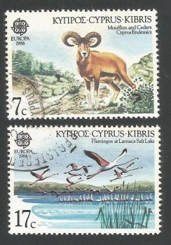 Cyprus Stamps SG 678-79 1986 Europa Nature - USED (L303)