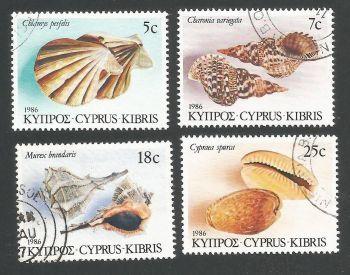 Cyprus Stamps SG 680-83 1986 Seashells - USED (L304)