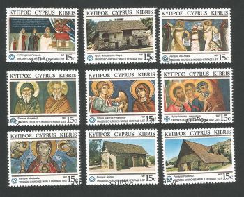 Cyprus Stamps SG 695-703 1987 World Heritage Troodos Churches - USED Seperated (L305)