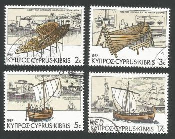 Cyprus Stamps SG 706-09 1987 Voyage of Kyrenia 2 Ancient Ship - USED (L307)