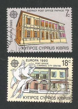 Cyprus Stamps SG 774-75 1990 Europa Post office buildings - USED (L313)