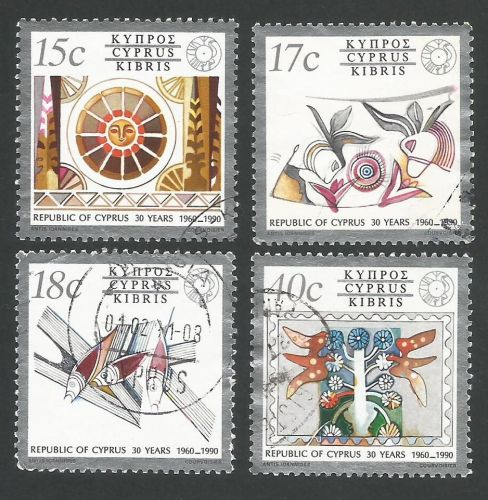 Cyprus Stamps SG 780-83 1990 30th Aniversary of Cyprus Republic - USED (L31
