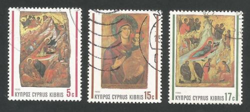 Cyprus Stamps SG 791-93 1990 Christmas Icons - USED (L316)