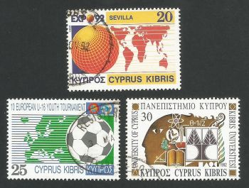Cyprus Stamps SG 815-17 1992 Anniversaries and Events - USED (L322)