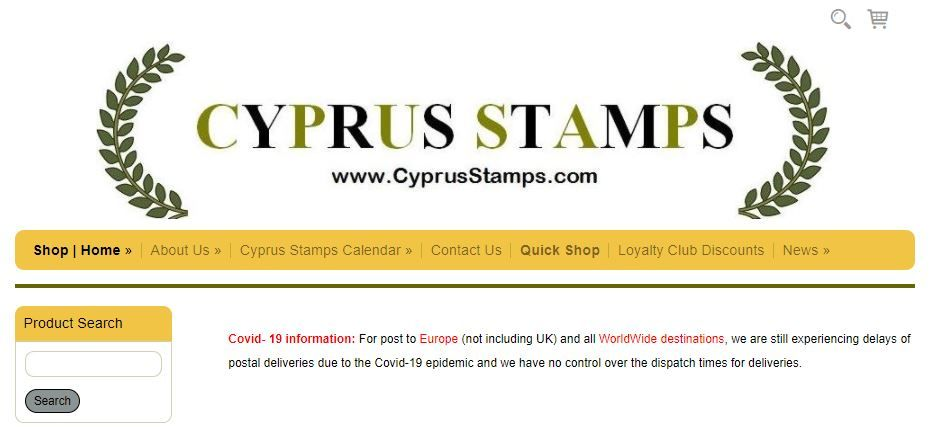 Covid Notice from Cyprus Stamps