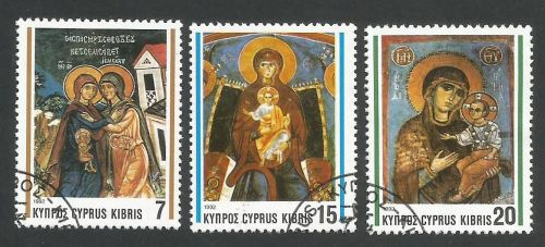 Cyprus Stamps SG 827-29 1992 Christmas Church Frescos - USED (L327)
