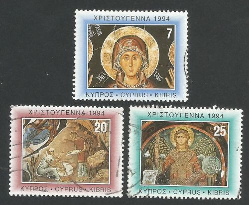 Cyprus Stamps SG 860-62 1994 Christmas Church Paintings - USED (L336)