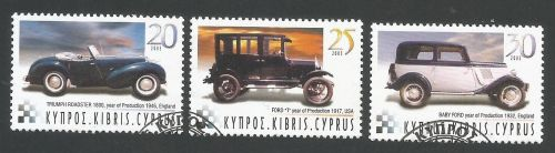 Cyprus Stamps SG 1048-50 2003 Historic motor cars - USED (L360)