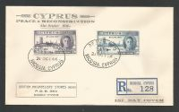 Cyprus Stamps SG 164-65 1946 Victory Registered Cachet  - First Day Cover (L391)