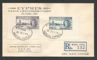 Cyprus Stamps SG 164-65 1946 Victory Registered Cachet with selvedge  - First Day Cover (L395)