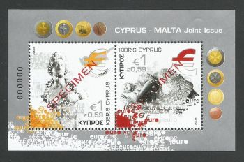 Cyprus Stamps SG 1156 MS 2008 Cyprus Malta joint issue - Specimen MINT