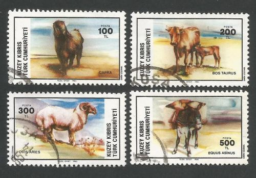 North Cyprus Stamps SG 168-71 1985 Domestic animals - USED (L404)