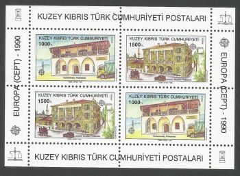 North Cyprus Stamps SG 277 MS 1990 Europa Post Office buildings - MINT