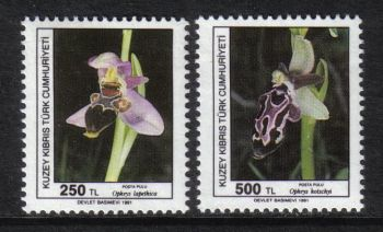 North Cyprus Stamps SG 304-05 1991 Orchids 1st Series - MH
