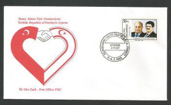 North Cyprus Stamps SG 217 1987 Denktash and Turgut Ozal - Official FDC