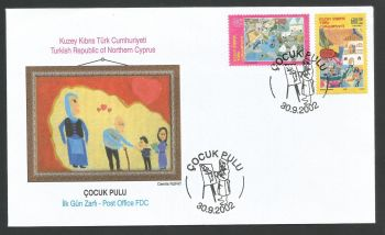 North Cyprus Stamps SG 559-60 2002 Childrens paintings - Official FDC