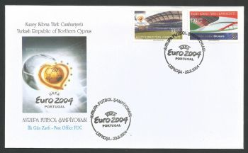 North Cyprus stamps SG 594-95 2004 50th anniversary of UEFA Football - Official FDC