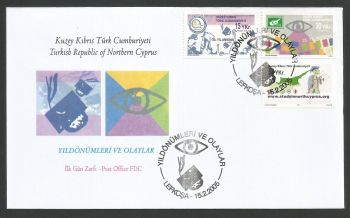 North Cyprus stamps SG 600-02 2005 Anniversaries - Official FDC