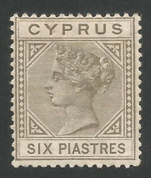 Cyprus Stamps SG 021 1882 6 Six Piastre Olive-grey - MH (L530)