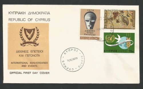 Cyprus Stamps SG 351-53 1970 Anniversaries and Events - Official FDC