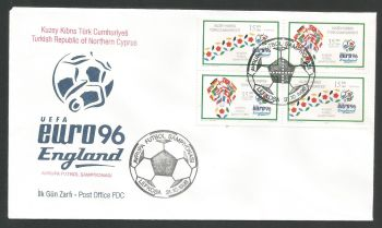 North Cyprus Stamps SG 430-31 1996 Euro 96 England (4 Stamps) Se-tenant - Official FDC (L514)