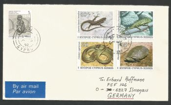 Cyprus Stamps SG 822-25 1992 Reptiles - Unofficial FDC (L516)