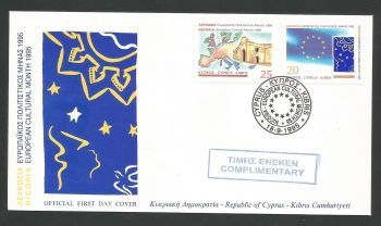 Cyprus Stamps SG 889-90 1995 Cultural Month - Official FDC Stamped Complimentary