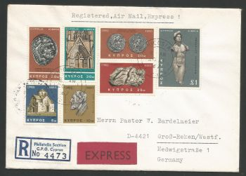 Cyprus Stamps 1966 2nd Definitives Antiquities Part set Registered Express to Germany - Cover (L520)