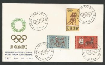 Cyprus Stamps SG 246-48 1964 Tokyo Olympic Games - Unofficial FDC (L578)