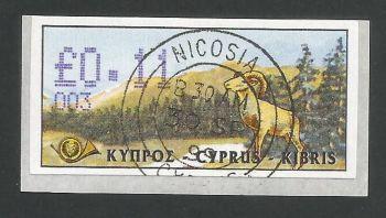 Cyprus Stamps 027 Vending Machine Labels Type D 1999 (003) Nicosia 11c - FDI CTO USED (d614)