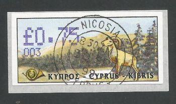 Cyprus Stamps 034 Vending Machine Labels Type D 1999 (003) Nicosia 75c -  FDI CTO USED (L627)