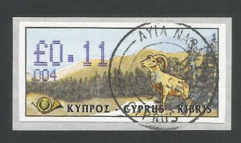 Cyprus Stamps 035 Vending Machine Labels Type D 1999 (004) Ayia Napa 11c - FDI CTO USED (L628)