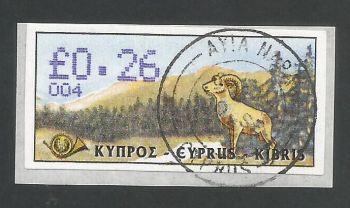Cyprus Stamps 038 Vending Machine Labels Type D 1999 (004) Ayia Napa 26c - FDI CTO USED (L630)