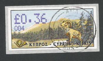 Cyprus Stamps 040 Vending Machine Labels Type D 1999 (004) Ayia Napa 36c - FDI CTO USED (L632)
