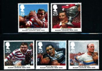 British Stamps 1995 SG 1891-95 Centenary of Rugby League - MINT (P301)