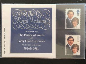 British Stamps 1981 Presentation Pack 127a SG 1160-61  The Royal Wedding