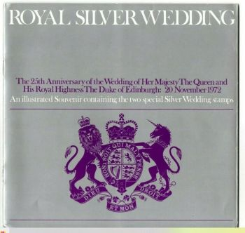 British Stamps 1972 Royal Silver Wedding Souvenir Book with stamps SG 916 - 917