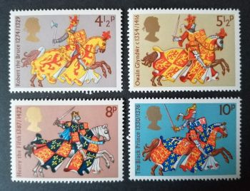 British Stamps 1974 SG 958-61 Medieval Warriors - MINT (P364)
