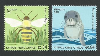 Cyprus Stamps SG 2021 (e) EUROPA 2021 Endangered National Wildlife Seal and Bee - MINT