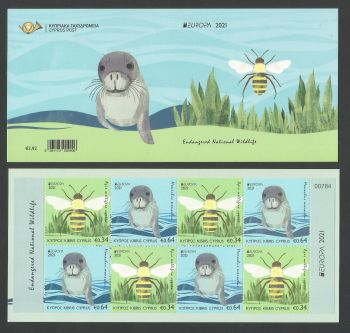 Cyprus Stamps SG 2021 (e) EUROPA 2021 Endangered National Wildlife Seal and Bee - Booklet MINT