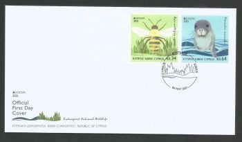Cyprus Stamps SG 2021 (e) EUROPA 2021 Endangered National Wildlife Seal and Bee - Official FDC