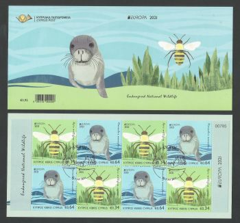Cyprus Stamps SG 2021 (e) EUROPA 2021 Endangered National Wildlife Seal and Bee - Booklet CTO USED (L685)