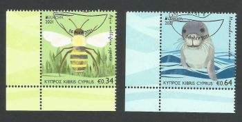 Cyprus Stamps SG 2021 (e) EUROPA 2021 Endangered National Wildlife Seal and Bee - CTO USED (L680)