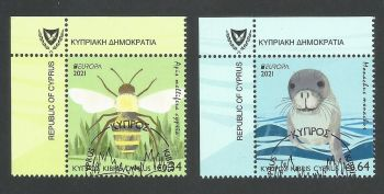 Cyprus Stamps SG 2021 (e) EUROPA 2021 Endangered National Wildlife Seal and Bee - CTO USED (L679)