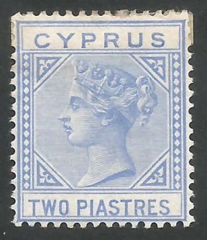 Cyprus Stamps SG 013 1881 2 Piastre Blue - MH (L675)