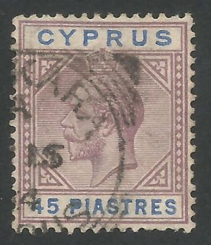 Cyprus Stamps SG 099 1923 45 Piastres - USED (L672)