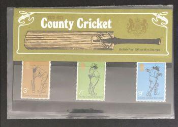 British Stamps SG 0928-30 1973 Presentation Pack 51  County Cricket